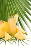 Pineapple juice on a palm tree leaf Stock Photos