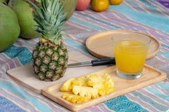 Pineapple juice and Pineapple royalty free stock photos