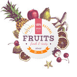 Pineapple and juicy fruits, vector illustration Royalty Free Stock Photo