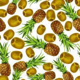 Pineapple kiwi seamless pattern Stock Photography