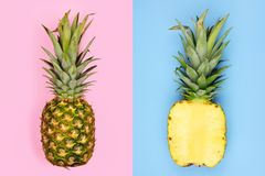 Pineapple layout with whole fruit on pastel pink and half slice on blue stock images
