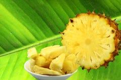 Pineapple on leaf Stock Image