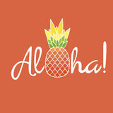 Pineapple with leaf and lettering Aloha. Exotic fruit from tropical America. Typography, t-shirt graphics, poster, banner, textile, apparel, greeting card Royalty Free Stock Photography