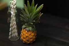 Pineapple with leaves. royalty free stock photos