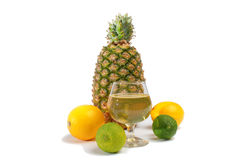 Pineapple lemon and lime with a nice fruit juice. Stock Photos