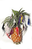 Pineapple like christmas tree with toys in feather Stock Photos