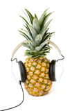 Pineapple Listening to Music With Stock Image