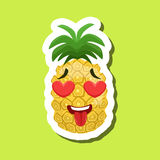 Pineapple In Love With Hearts In Eyes, Cute Emoji Sticker On Green Background. Humanized Tropical Fruit Character Isolated Icon In Colorful Cartoon Design royalty free illustration