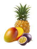 Pineapple, mango halved, passion fruit isolated royalty free stock photo