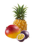 Pineapple mango passion fruit isolated royalty free stock photos