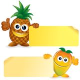 Pineapple with Mango. Vector Cartoon Illustration Royalty Free Stock Image