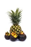 Pineapple and Mangosteen. Pineapple with green leaves and Mangosteen on white background Stock Photos