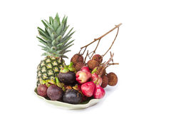 Pineapple, mangosteen, lychee on white background Stock Photo