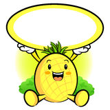 The Pineapple Mascot holding a big board Royalty Free Stock Photography