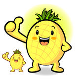 Pineapple Mascot the Left hand best gesture. Fruit Character Des Stock Photo