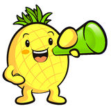 Pineapple Mascot the  Left hand is holding a loudspeaker. Fruit Royalty Free Stock Image