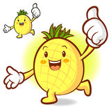 Pineapple Mascot the right hand best gesture and the left hand g Stock Images