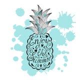 Pineapple with motivational inscription. Enjoy the Stock Photos