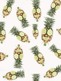 Pineapple with mouth and eye. Made from lime Stock Image