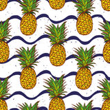 Pineapple and navy waves seamless vector print Royalty Free Stock Image