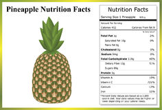 Pineapple Nutrition Facts. Illustration of a pineapple on a white background with a nutrition label Royalty Free Stock Photo