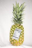 Pineapple with Nutrition Label. Pineapple with a nutrition fact label attached Royalty Free Stock Photos