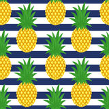 Pineapple On Striped Background. Cute Vector Pineapple Pattern. Royalty Free Stock Photos