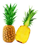 Pineapple one and a half. Isolated on white Royalty Free Stock Image