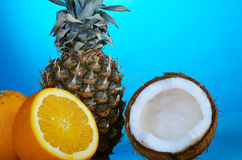 Pineapple,orange and Coconut Piece Stock Images