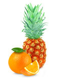 Pineapple and orange Royalty Free Stock Images