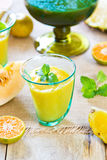 Pineapple with Orange and Melon smoothie Royalty Free Stock Photo