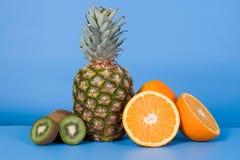 Pineapple, oranges and kiwi Stock Image