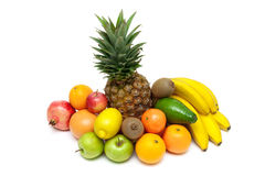 Pineapple and other fruits isolated on white background Stock Photos