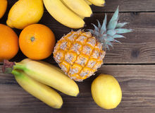Pineapple and other tropical fruits from above Royalty Free Stock Photography