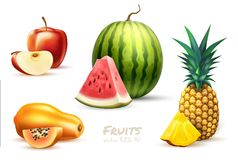 Pineapple Papaya Watermelon Apple Exotic Fruit Set Royalty Free Stock Photos