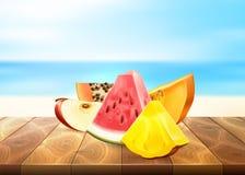 Pineapple papaya watermelon apple fruit slice set. Pineapple apple watermelon papaya realistic fruit slice. Vector illustration. 3d tropical exotic Juicy fresh Royalty Free Stock Photos