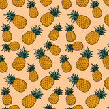 Pineapple pattern. Seamless pattern of pineapples on a yellow background Stock Photos
