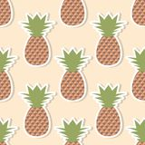 Pineapple pattern. Seamless texture with ripe red pineapples. Use as a pattern fill stock illustration