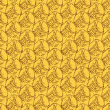 Pineapple peel seamless background. Sketch. Brown outline on an Royalty Free Stock Photos