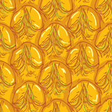 Pineapple peel seamless background. Sketch. Brown outline on an Stock Images