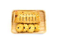 Pineapple pie and cookies on wooden table background Royalty Free Stock Photography