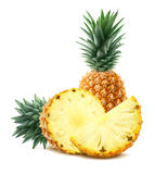 Pineapple and pieces  on white background Stock Images