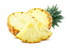 Pineapple pieces  on white background flat composition Royalty Free Stock Image