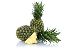 Pineapple pineapples fruit fruits slice isolated on white Stock Images