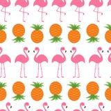 Pineapple Pink flamingo icon set. Seamless Pattern Wrapping paper, textile template.   Stock Photos