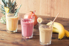 Pineapple, Pomegranate and Banana smoothie Royalty Free Stock Photos