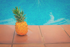 Pineapple and pool Stock Image