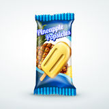 Pineapple popsicles package design. In 3d illustration for design uses Royalty Free Stock Photos