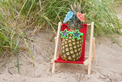 Pineapple relaxing in chair Stock Image