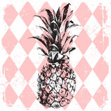 Pineapple on rhombus background Royalty Free Stock Photos